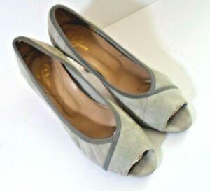 Bata Grey Suede Medium Heeled Court Shoes Size 39 (uk 6 )
