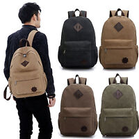Men Canvas Shoulder Backpack Rucksack School Travel Laptop College Bag Satchel