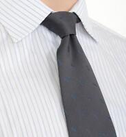 $195 Ermenegildo Zegna Gray With Blue Motif Pattern Silk Neck Tie