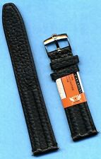 GENUINE BLACK LEATHER CAVADINI STRAP BAND 18mm or 20mm & ROLEX STEEL BUCKLE