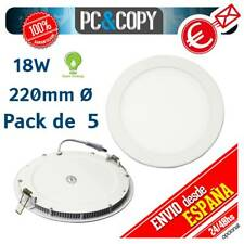 R1256 Pack 5 Downlight Panel LED 18W Techo Luz Blanca Redonda Fina Empotrable