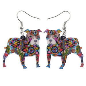 Acrylic Pit Bull Dog Earring Fashion Animal Jewelry For Women Gift Pets Lovers