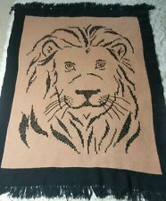 "Handmade Crochet Knit Lion's Head Afghan Blanket Black Tan Fringed Edges 45""x65"""