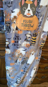 HAPPY HALLOWEEN THEME THROW BLANKET 50X70 PUPPY DOGS WITCHES SKELETONS GHOSTS