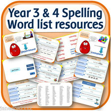 Year 3 & 4 SPELLING WORD LIST teaching resources IWB worksheets activities on CD