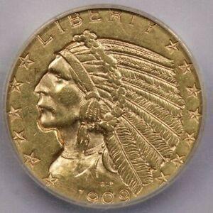 1909-D 1909 Indian Head Half Eagle ICG AU58 Details
