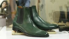 Handmade Men's Green Chelsea Boots, Designers Retro Ankle High Boots Dress Boots