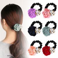 Women Elastic Big Rose Flower Pearl Rhinestone Hair Rope Hair Accessories New
