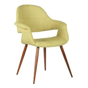 Armen Living Phoebe Dining Chair, Walnut/Green - LCPHSIWAGREEN