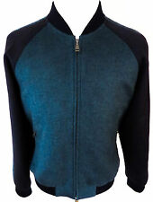 $5400 NWT BRIONI Two Tone Black and Teal Cashmere Blend Jacket Coat Size Large