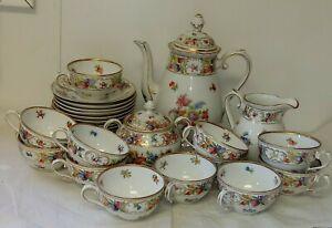 Schumann Bavaria Dresden Flowers Empress Chateau TeaSet Teapot C&S 12 Cup Saucer
