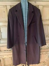 NEW MEN'S CASHMERE AND WOOL OVERCOAT IN RICH DARK BROWN SIZE 38 R BY MANTONI