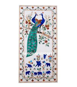"""12""""x24'' Elegant Marble Table Top Peacock With Elephant Floral Inlaid Decor M239"""