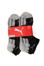 Puma Men's 6 Pack Quarter-Crew Sport Socks, Black/Silver, Sock Size 10-13
