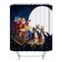 Christmas Snowman Bathroom Shower Curtain Waterproof Fabric w/12 Hooks  US