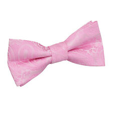 DQT Woven Floral Paisley Baby Pink Communion Page Boys Pre-Tied Bow Tie