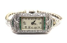 Fine Antique Art Deco Vintage 14k WG Emerald and Diamond Ladies Watch Bracelet