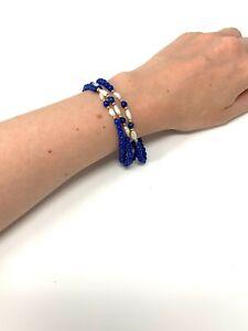 Vintage 9ct Yellow Gold 375 Lapis Lazuli & Freshwater Pearl Bead Bracelet #237
