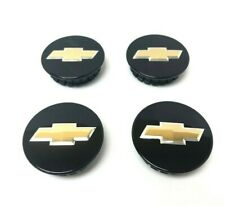 OEM Chevrolet Center Caps Set Bow Tie Emblem Logo Black & Gold 2 1/4