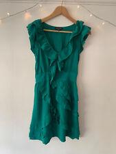 Zara Silk Green Ruffle Party Cocktail Dress Size 10