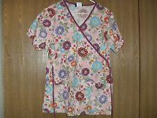 ladies size (M) comfy cotton short sleeve multi color floral scrub top