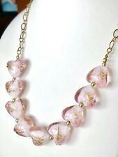Vintage Gold Tone Pink Murano Wedding Cake Heart Glass Beads Beaded Necklace