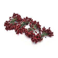 100x Artificial Red Holly Berry On Wire Bundle Garland Wreath Making Christmas J