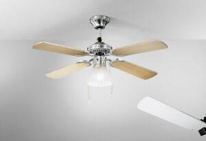 Ventilatore da Soffitto Cromo Spazzolato Pale in Legno Kit Luce Perenz 7064 CR