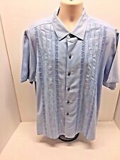 Tommy Bahama Diamond Textured Embroidered Hawaii Flower Border Front Button XL