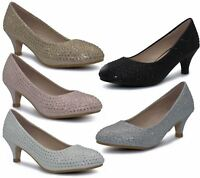 Girls Court Shoes Party Bridesmaid Glitter Diamante Wedding Low Heel Shoes