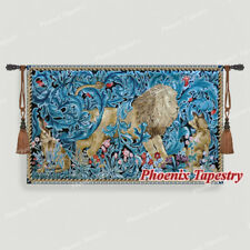 """William Morris Lion Fine Art Tapestry Wall Hanging, Cotton 100%, 55""""x33"""", UK"""