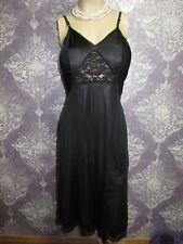 Vintage Full Slip Silky Nylon 1970s Black Flared A-line Lacey Nighty Lingerie 32