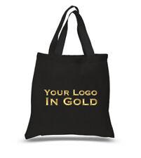 Il tuo logo Borsa, oro nero Tote Bag, Borsa con logo oro, Own Design Tote Bag