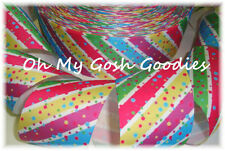 2 1/4 Candyland Diagonal Stripe Dots Candy Bright Grosgrain Ribbon 4 Bow Hairbow