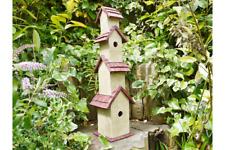 80cm Tall Bird house Garden Rustic Wood Nesting box Wren TIT Box Robin Bluebird