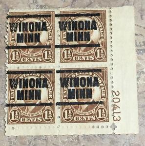 US # 684 1 1/2 cent Harding Precancel BLOCK OF 4 PLATE NUMBER WINONA MINN (NE)