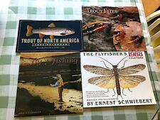 4 Older unused fly fishing related calendars, Signed Schwiebert