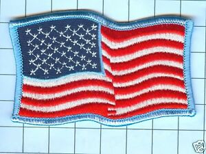 American Flag  Patch - lWaving Star Field Left, Blue Border