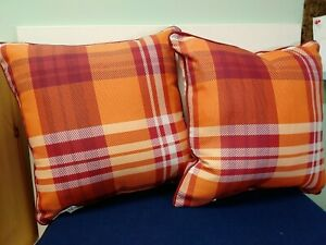 Indoor/Outdoor Orange/Red Plaid Pillow 16X16 Inches