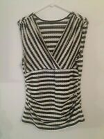 Ann Taylor Women's Size XL  Black and White Stripe Sleeveless Ruched Top Blouse