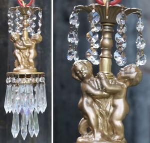 SWAG Cherub hanging Lamp Chandelier Vintage spelter brass crystal prism light