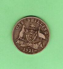1921  AUSTRALIAN STERLING SILVER SHILLING  COIN