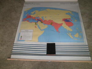 VINTAGE RAND MCNALLY 8 PULL DOWN MAPS ANCIENT WORLD HOME CHARTER SCHOOL MARKABLE