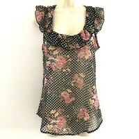 H.I.P. Happening in the present small sheer ruffle top polka dot floral