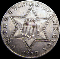 1858 Silver Three Cent Piece 3cp  ---- NICE   ---- #S969