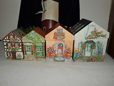 Set of 4 NESTING HOUSE SHAPED BOXES Decorative Useful Charming Cottage