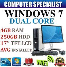 WINDOWS 7 COMPLETA DELL TORRE ORDENADOR FIJO SET PC 4GB RAM 250GB
