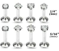 "1pc. 16G 1/4"" 5/16"" 3mm CZ Prong Set Lip Labret Helix Cartilage Tragus Piercing"
