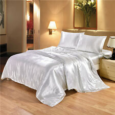 Ice Silk Soft Satin Double Queen King Size Bed Sheet Set Flat Fitted Pillowcases