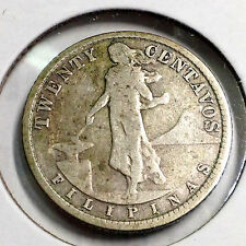 PHILIPPINES 1929-M SILVER 20 CENTAVOS BETTER GRADE AND DATE